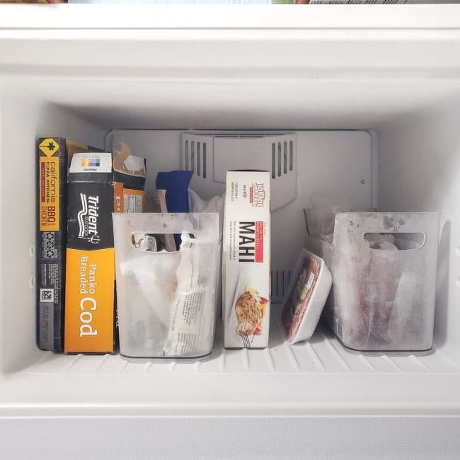 Open Top Freezer with clear bins