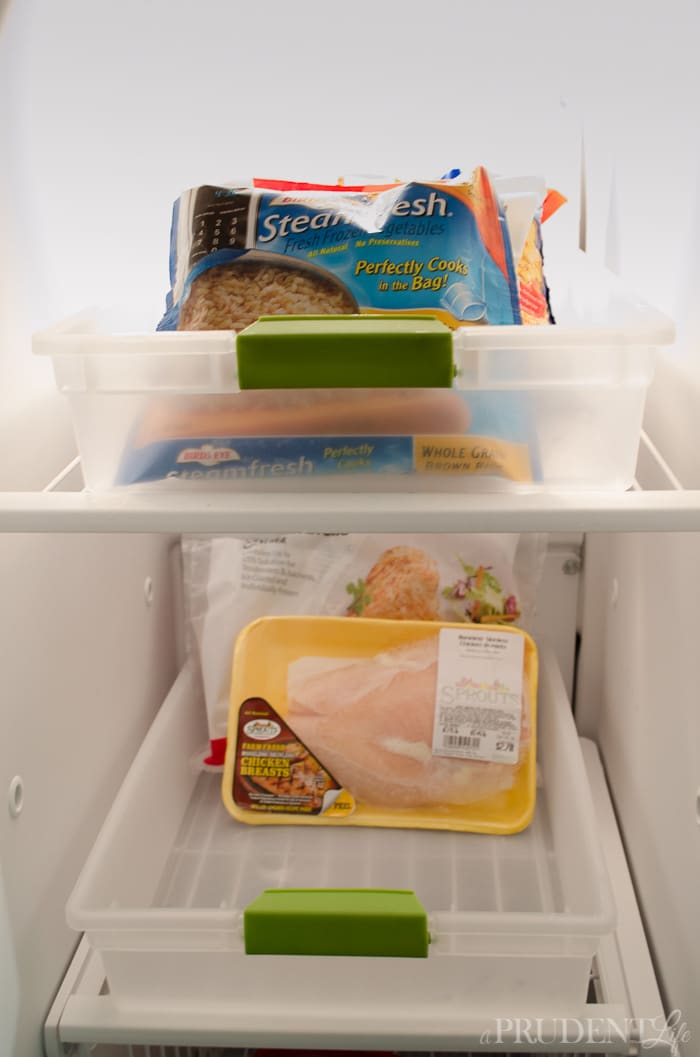 Using bins to organize your freezer lets you file food instead of piling it.