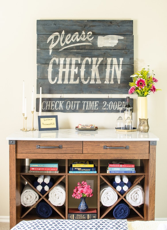 Creating a vintage look wood sign from brand new fence boards is easier than you would expect. Our guest room sign is