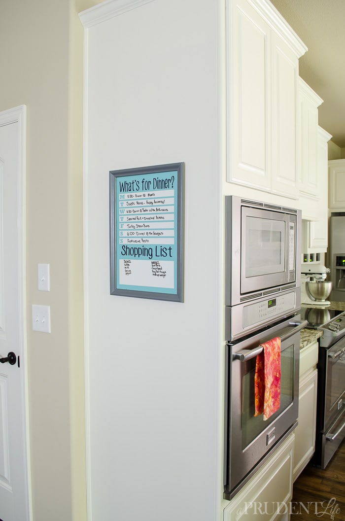 "DIY MENU BOARD - Keep your family on the same page with a dry erase menu board. We use it to remind us that we have meals planned and don't need to eat out, but it also helps prevent the common ""What's for dinner?"" question from being asked 72 times a day!"