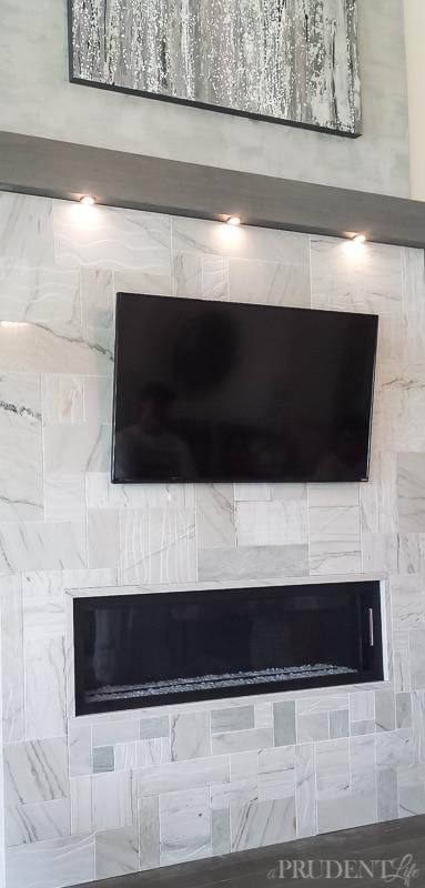 Oh la la, a modern marble fireplace!