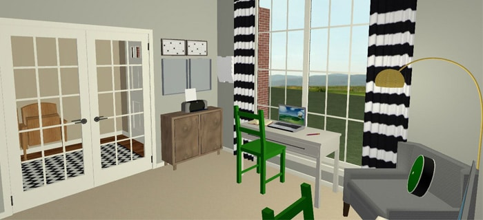 Modern Office for Two – 3D Design Plans!