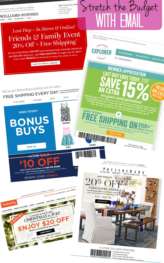 Secrets of Low Budget, High Style Week #2: Set up a separate email address so you can sign up for retailer emails without them clogging up your normal inbox. Just check the special email for coupons before any purchases to save big!