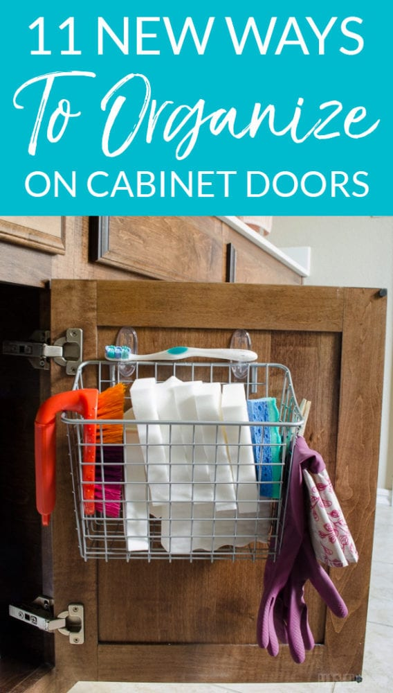 Wire Storage on Cabinet Door for Cleaning Supplies