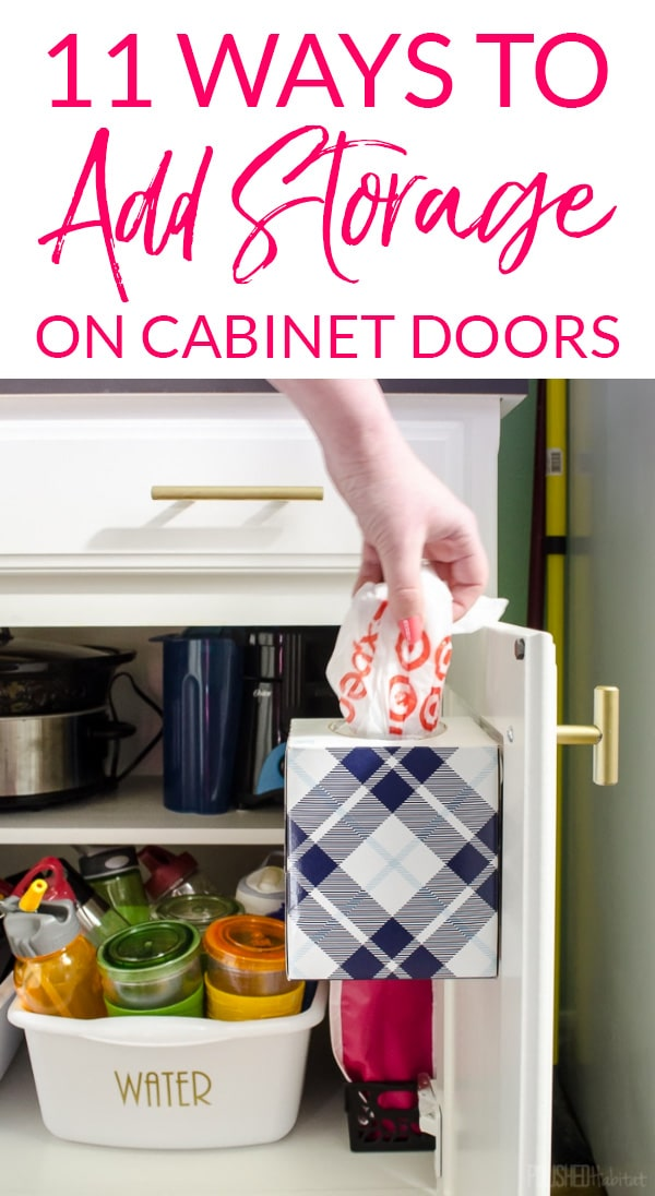Storing plastic shopping bags on cabinet door