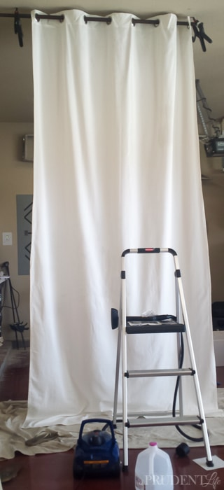 Before painting curtains, steam out the major wrinkles!