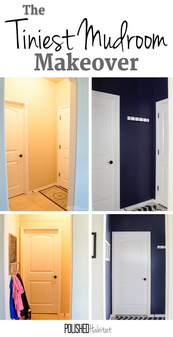 You don't need a big space to add storage inside the door to your home. I thought we didn't have space for a mudroom, but paint and hooks transformed this previously wasted space. And how great is that navy?