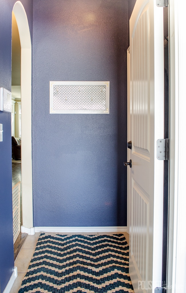 Painting a bold color in a small space is a fast and inexpensive way to make it pop!