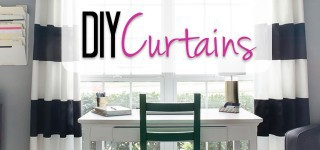 Curtains Can Be Spray Painted Too {DIY Black & White Striped Curtains}