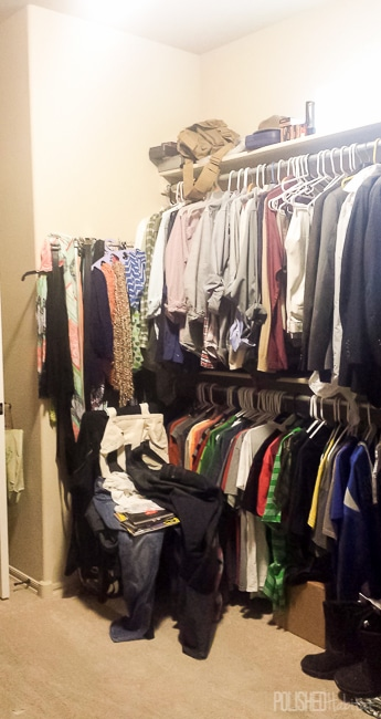 Master closet BEFORE - Click to see the afters!