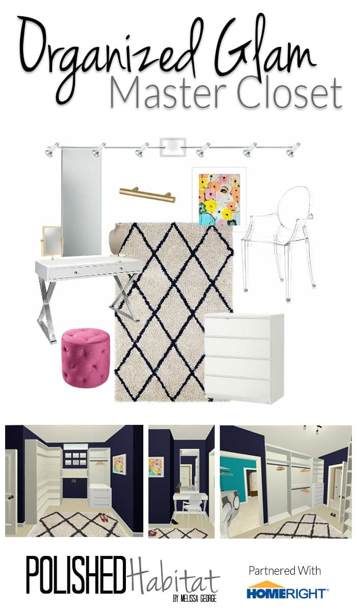 Master Closet Mood Board by Polished Habitat - Glam Organized Closet