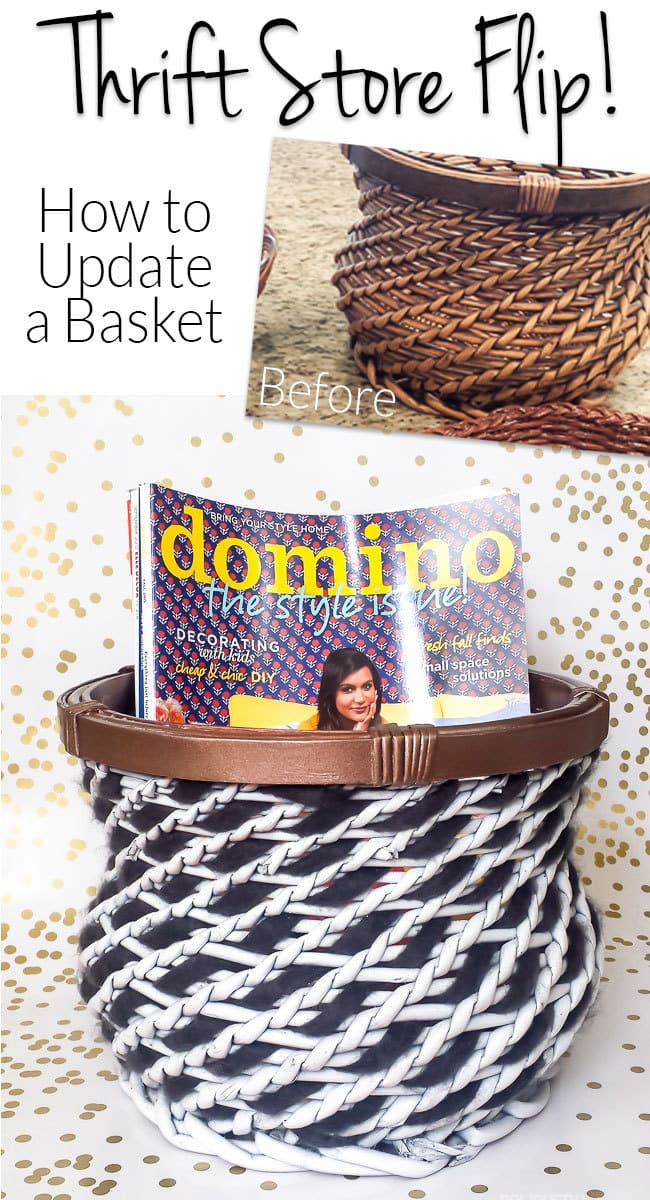 Baskets are an easy thrift store find and are great for organizing, but what if they aren't your style? Think outside the box (basket?) by weaving an accent color and adding paint. Love the tip for how to weave the yarn in this tutorial!