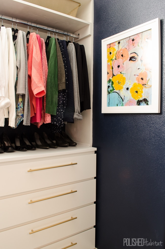 Ikea Malm dressers have never looked as good as they do in this DIY glam organized master closet.