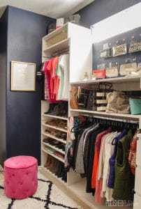 You won't believe this master closet before and after - and it's was all DIYed to save money! We started with dysfunction beige on beige, and turned it into organized glam.