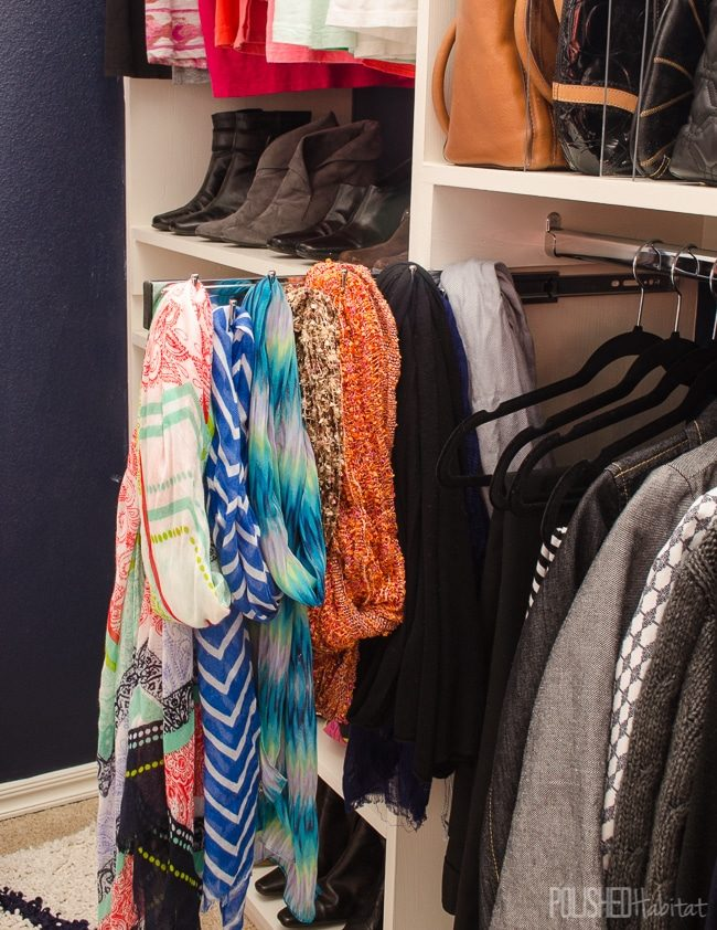 How to organize scarves - use a pull out belt organizer to save space!