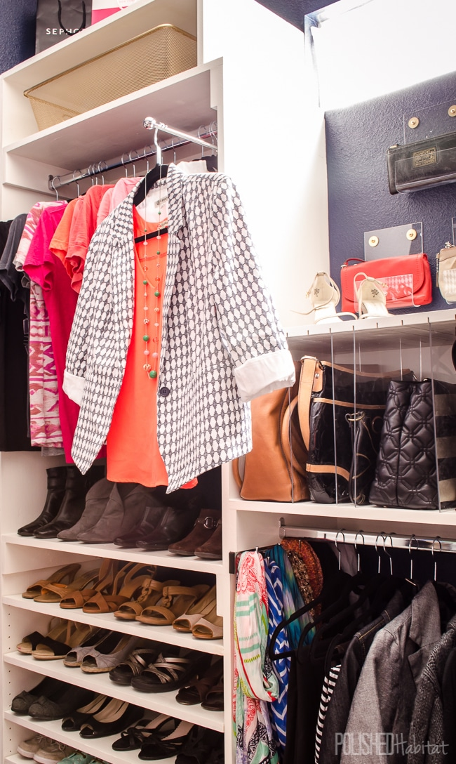 Pull out valet rods add tons of function to a closet without sacrificing any space. They are perfect when trying to decide what to wear!