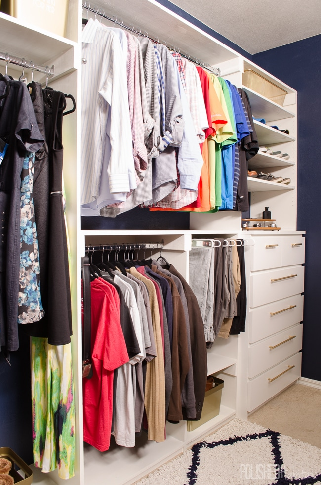 His side of this dreamy DIY closet started with an IKEA MALM hack. Adding inexpensive hardware and building it into the closet makes it look completely custom.