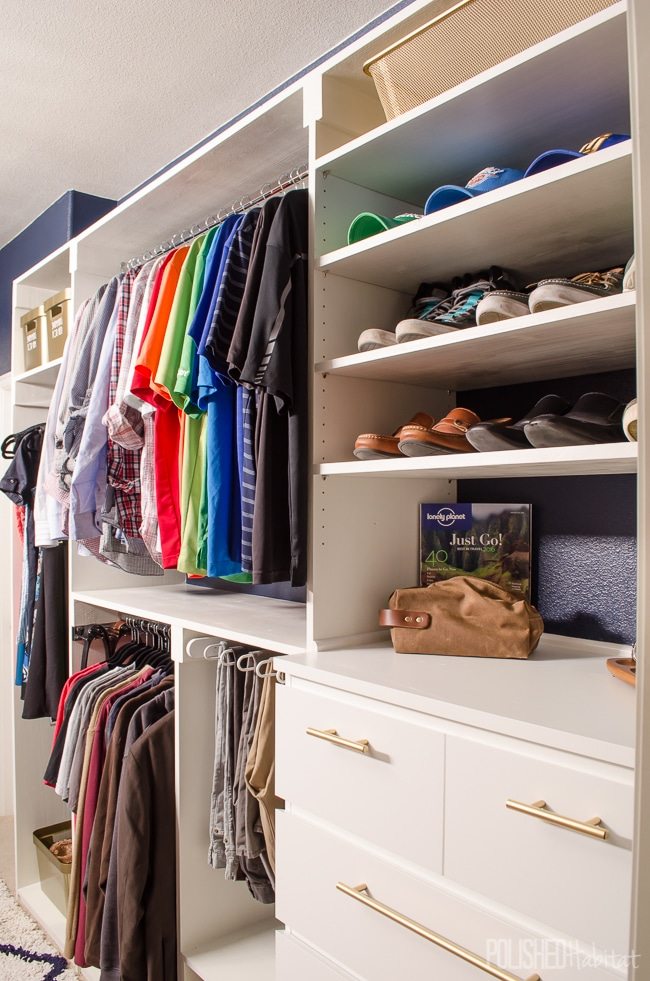 This organized master closet was a complete DIY project, with a little help from IKEA dressers as starting points. I love all the built-in organization! This is just HIS side, click to see HERS!