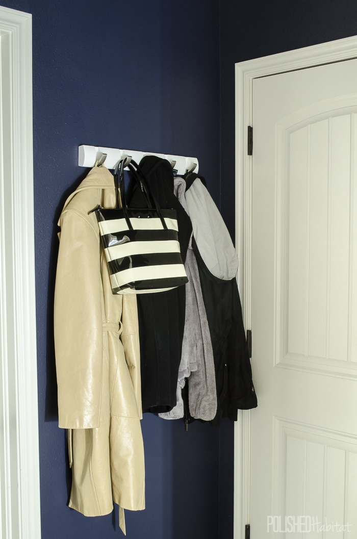 This is my MOST RECOMMENDED coat rack. It's extremely sturdy, and each hook flips down when not in use. They are perfect for organizing small entryways.