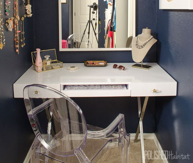 A dreamy vanity area doesn't require a ton of space. I love the idea of tucking it into a nook - you should see what was in this closet space before.