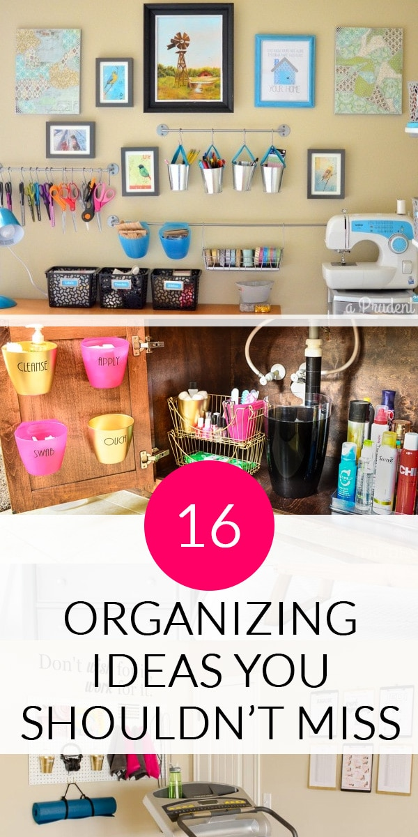 16 Organizing Ideas - Photo of craft room wall and bathroom under sink