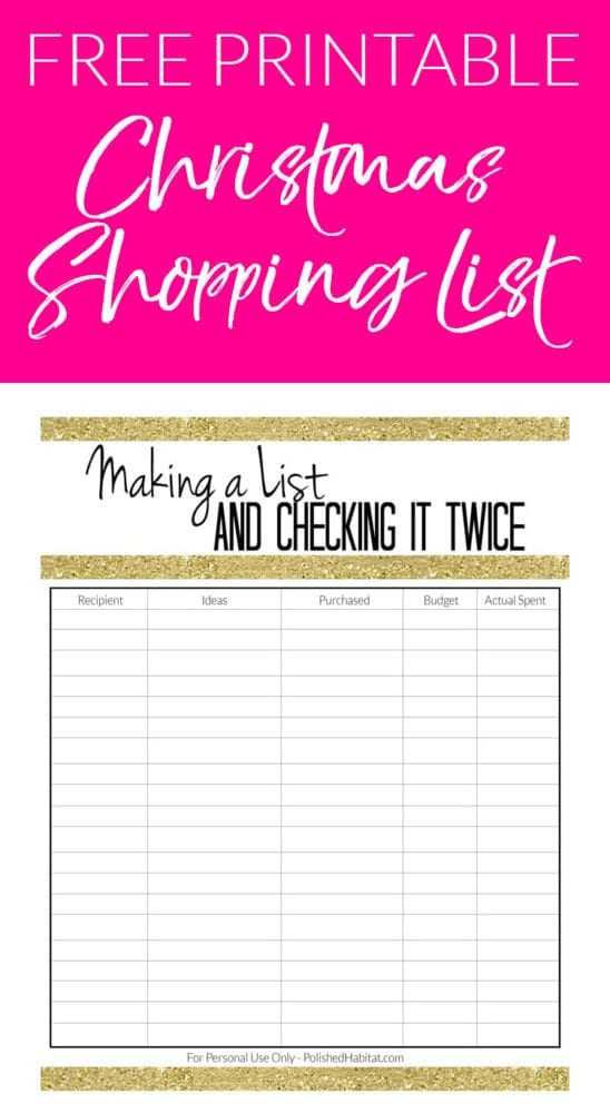Christmas CAN be organized and less stressful! Try this free printable Christmas shopping list organizer to keep your shopping and budget organized this holiday season!