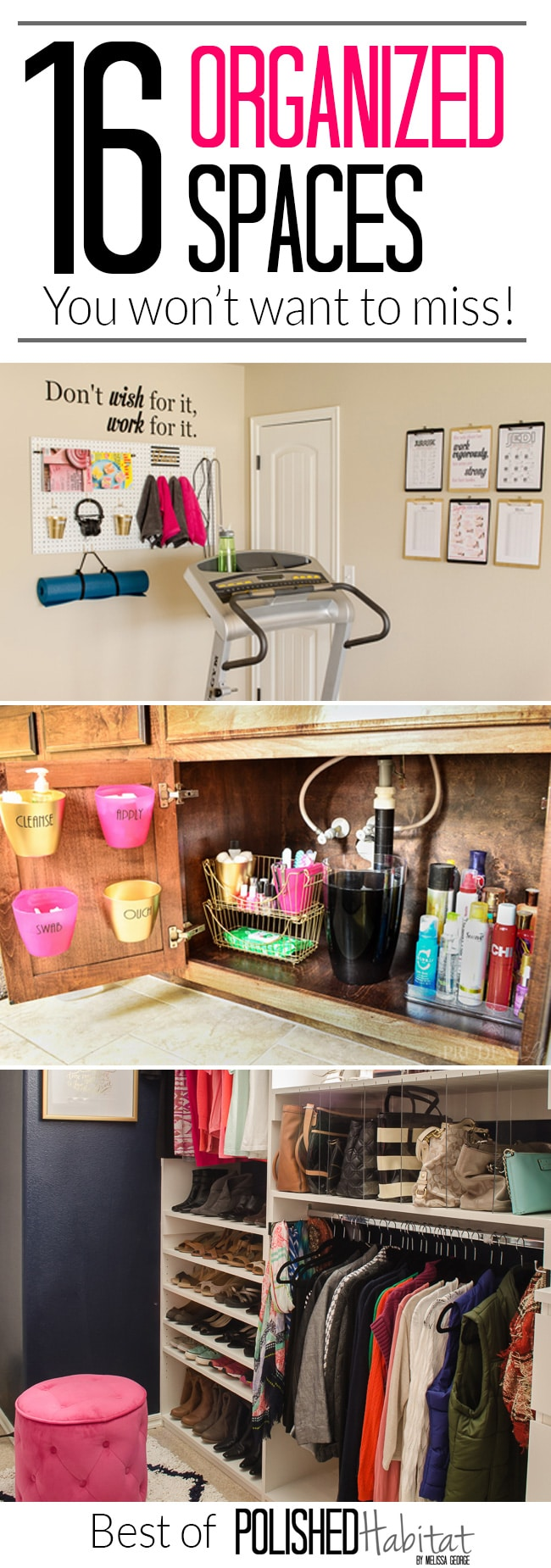 Organization Ideas For Almost Every Room! Control clutter WITHOUT becoming a minimalist with the top 16 organizing ideas from Polished Habitat.