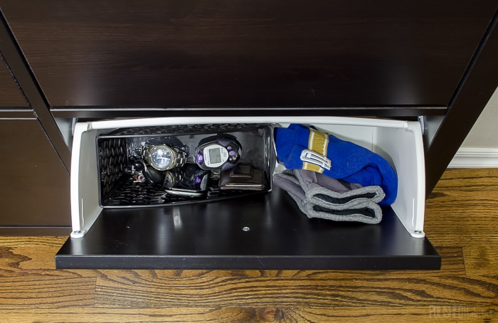 Use an IKEA shoe cabinet to add kitchen storage. One of the 14 ideas in this post is to use one as a drop station. Click to see the other 13 ideas!