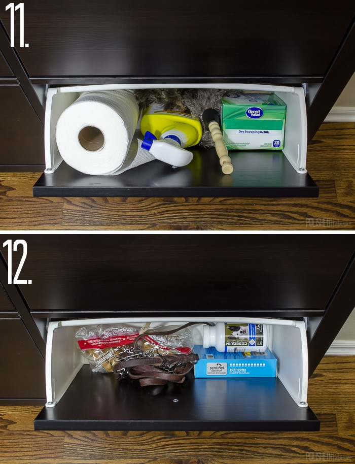 Add kitchen storage to a small space using an IKEA Hemnes Shoe Cabinet - This post has a list of 14 things you could store in it!
