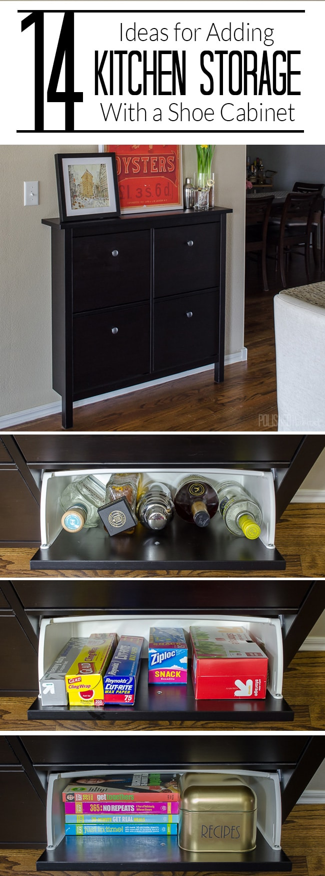 14 ways to use an ikea shoe cabinet for extra kitchen storage for Cabinet storage ideas kitchen