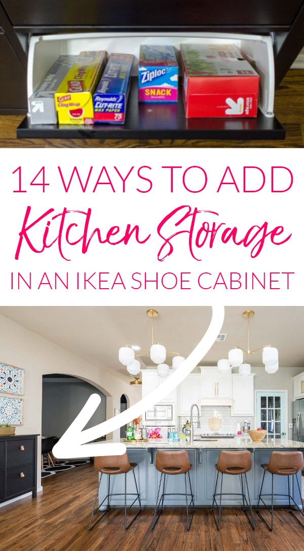Ikea shoe cabinet in kitchen used as storage