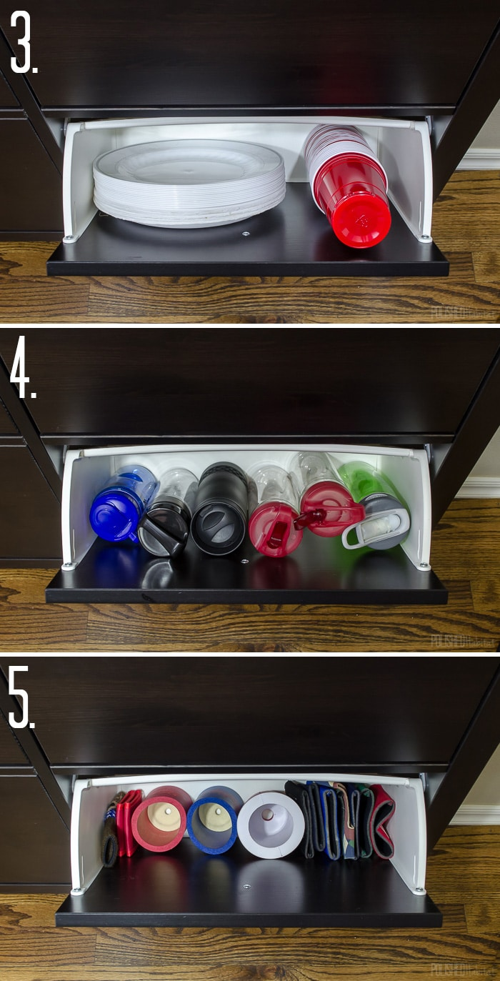 Use an IKEA shoe cabinet to add kitchen storage. Love the ideas to use it for disposable items, water bottles, and koozies. Click to see 11 more things you store in a shoe cabinet!