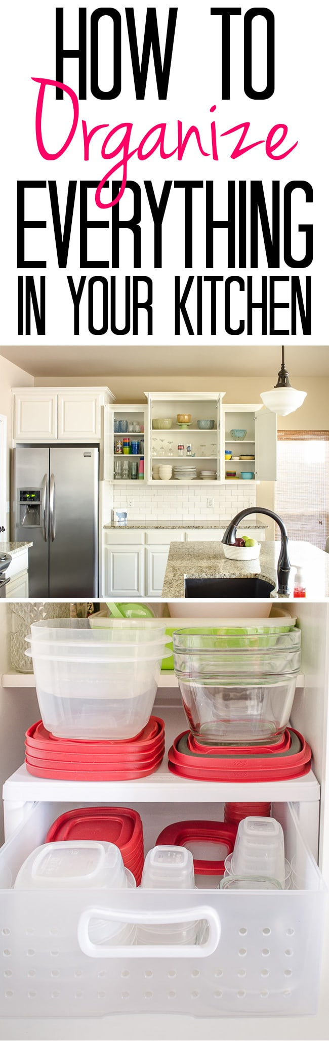 Tips And Tricks For An Organized Kitchen   See How I Organize Cabinets From  Plasticware To