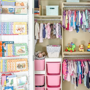 Use these clever organizing ideas to create a function closet that transitions from baby to toddler to kiddo.
