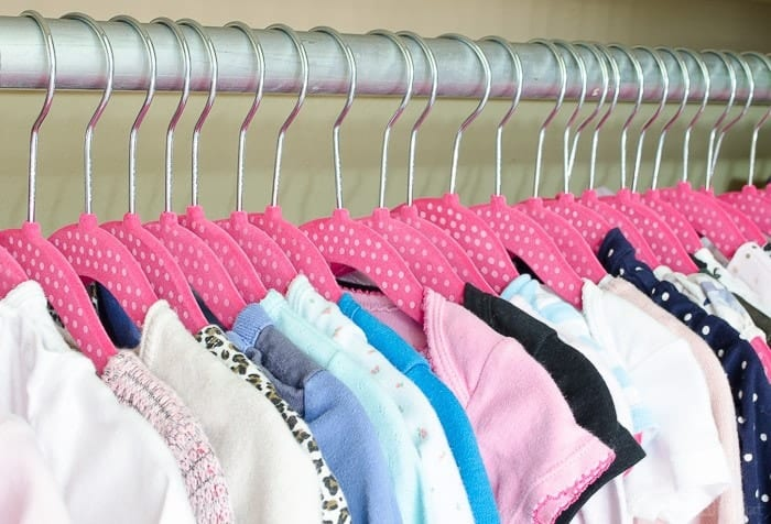 Oh my gosh, these polka dot little girl's hangers are ADORABLE. Perfect for a baby's closet.