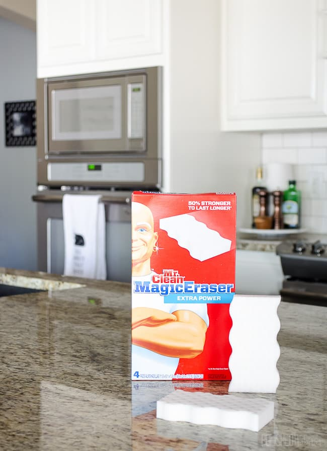 Keep a white kitchen clean with this magical inexpensive essential! Magic Erasers can be used on SO MANY THINGS!