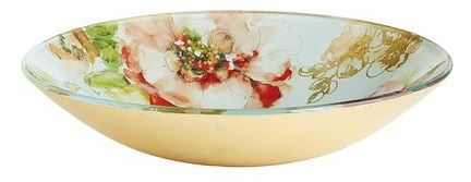 Elegant Blooms Glass Serving Bowl