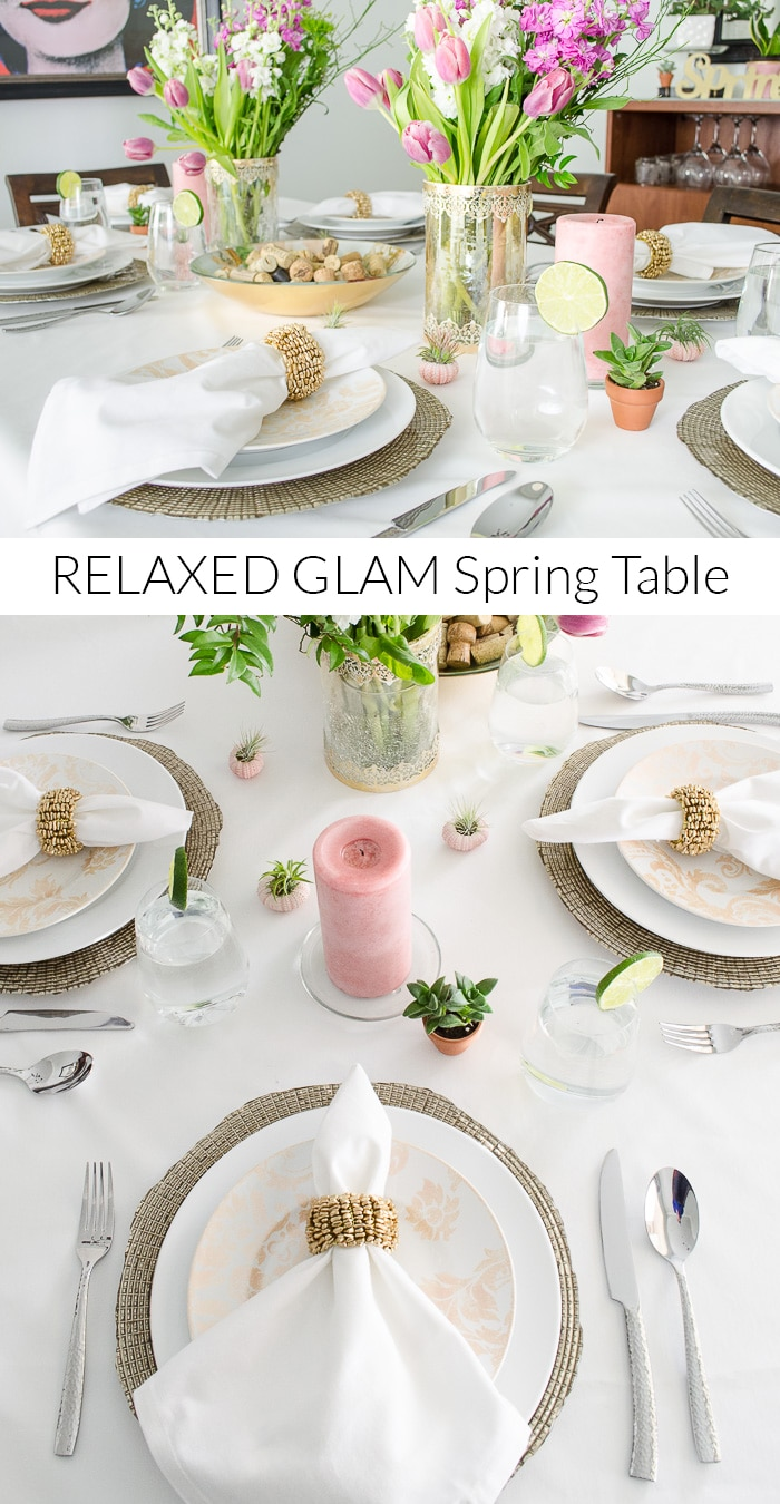 Looking for pretty place setting ideas for spring? I love this relaxed glam option. The whites and metallics are balanced out with pops of color from flowers, succulents, and air plants. The live plants give the table a fresh feel!
