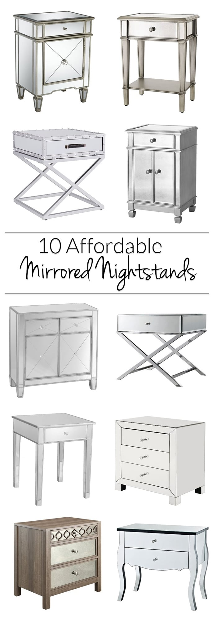 Cool Affordable Mirrored Nightstand Get a mirrored nightstand without breaking the bank! All these glam options  for your bedroom