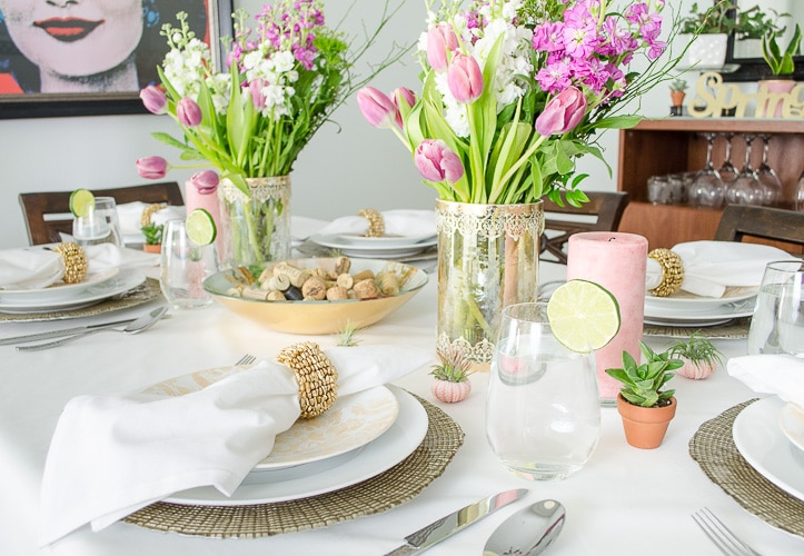 My relaxed glam spring tablescape. Love the pops of green and pink!