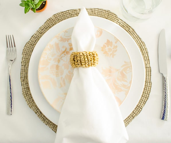 Glam Spring Tablescape with Pier 1 Place Settings