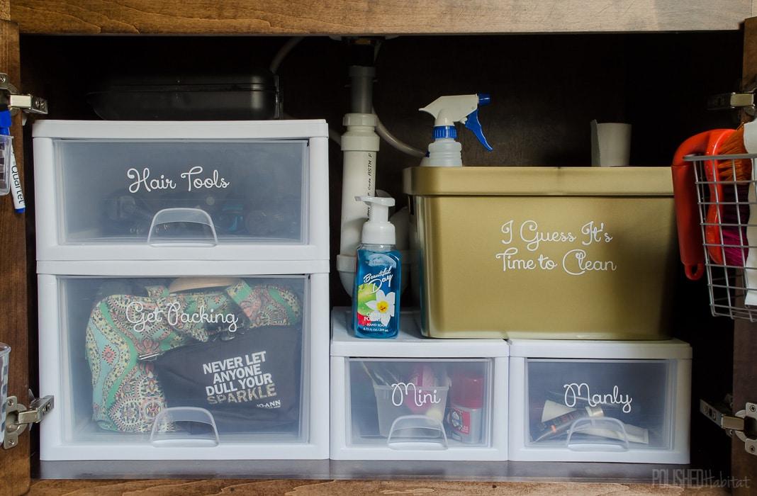 Bathroom Organization - LOVE these tips for storage under the bathroom sink!