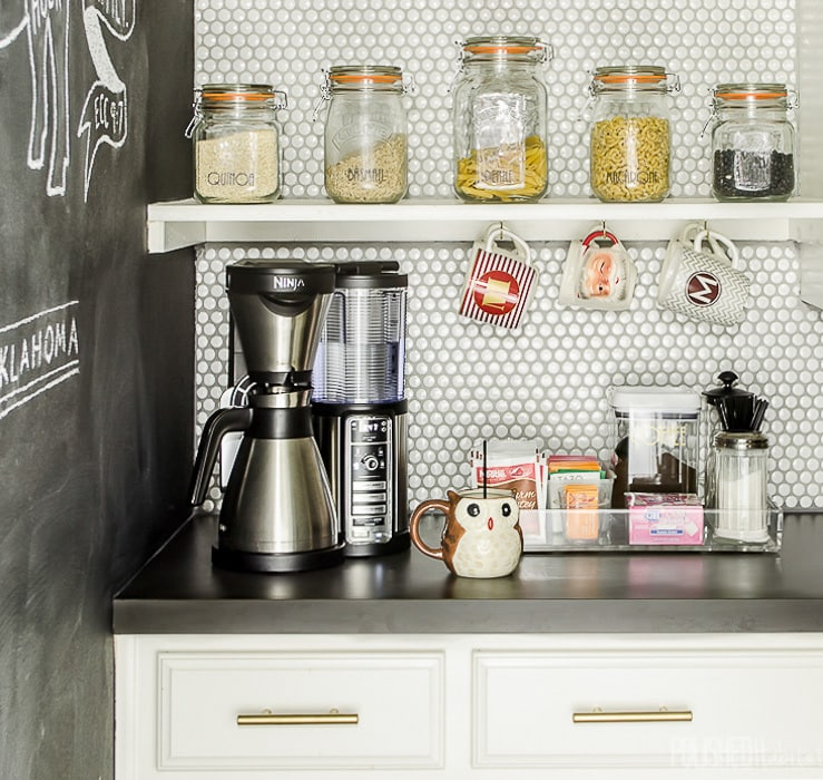 Organizing a coffee bar on the counter let you start your day without frustration. Everything you need is easy to grab while you are still half-asleep. I love that acrylic tray!