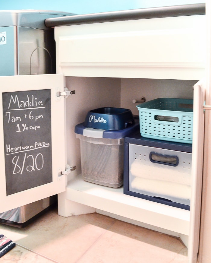 Pets food, medicine, leashes and supplies can create clutter around the house. Corral everything together in one cabinet, using a drawer to double your storage!
