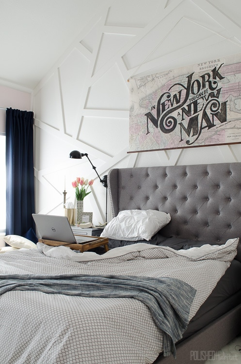 Modern Master Bedroom with Wingback Tufted Headboard