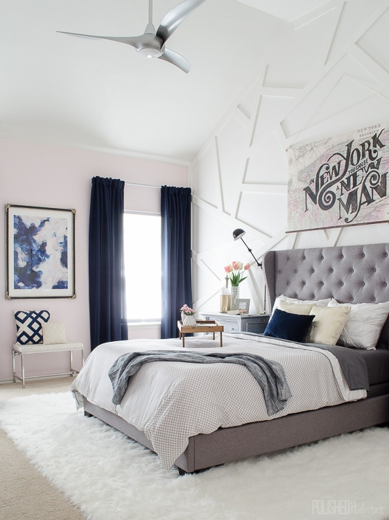 Modern industrial glam home style before after photos Light grey and navy bedroom