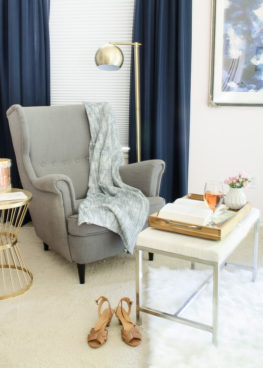 Bedroom Reading Nook - Ikea Strandmon Chair