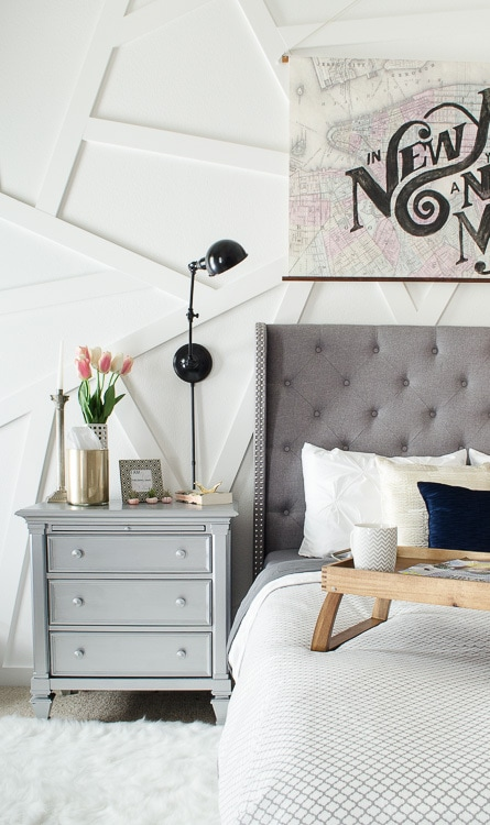 This Silver Nightstand Was A DIY That Works Perfectly In This Modern Master  Bedroom. Love