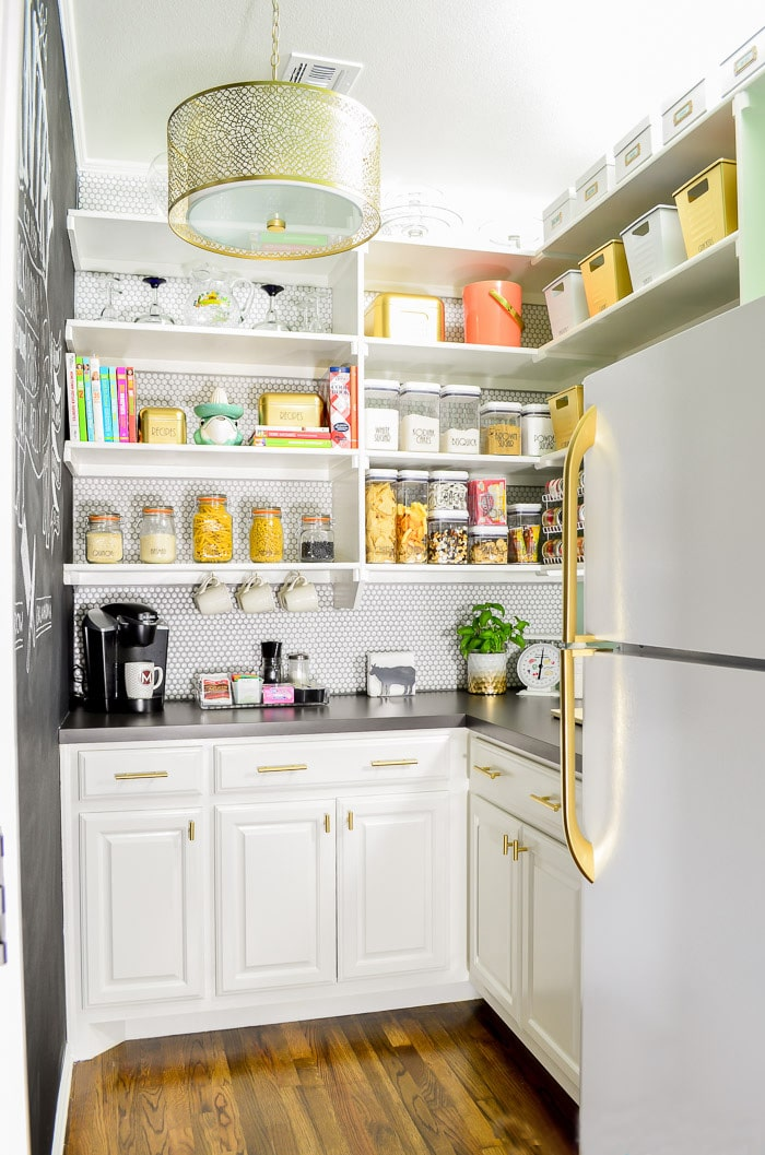 Walk In Pantry with Gold Cabinet Hardware