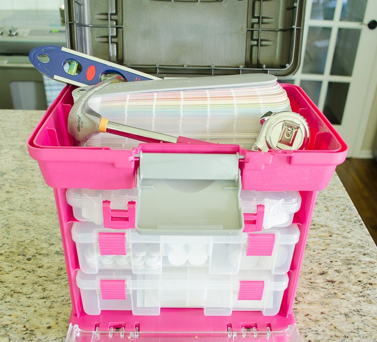 Assembling a Home Decorator's Toolkit - everyone needs one of these to organize paint samples, Command strips and so much more!